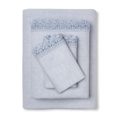 Embroidered Hem Solid Sheet Set (Queen)Blue - Simply Shabby Chic™