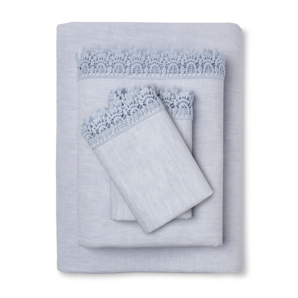Embroidered Hem Solid Sheet Set (Twin Extra Long) Blue - Simply Shabby Chic