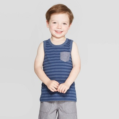 Toddler Boys' Stripe Tank Top - Cat & Jack™ Navy 3T