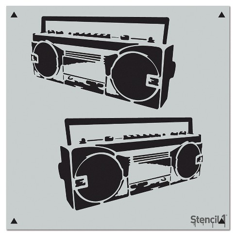 "Stencil1® Boom Box Repeating - Wall Stencil 11"" x 11"" - image 1 of 3"