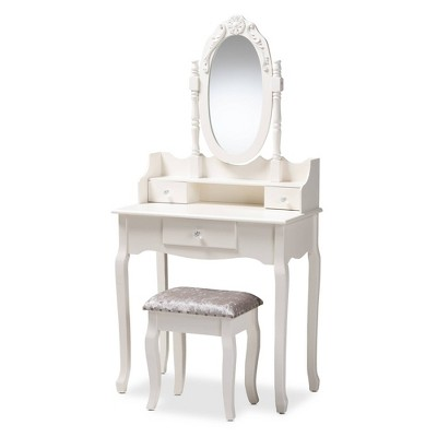 2pc Veronique White Finished Wood Vanity Table with Mirror and Ottoman White - Baxton Studio