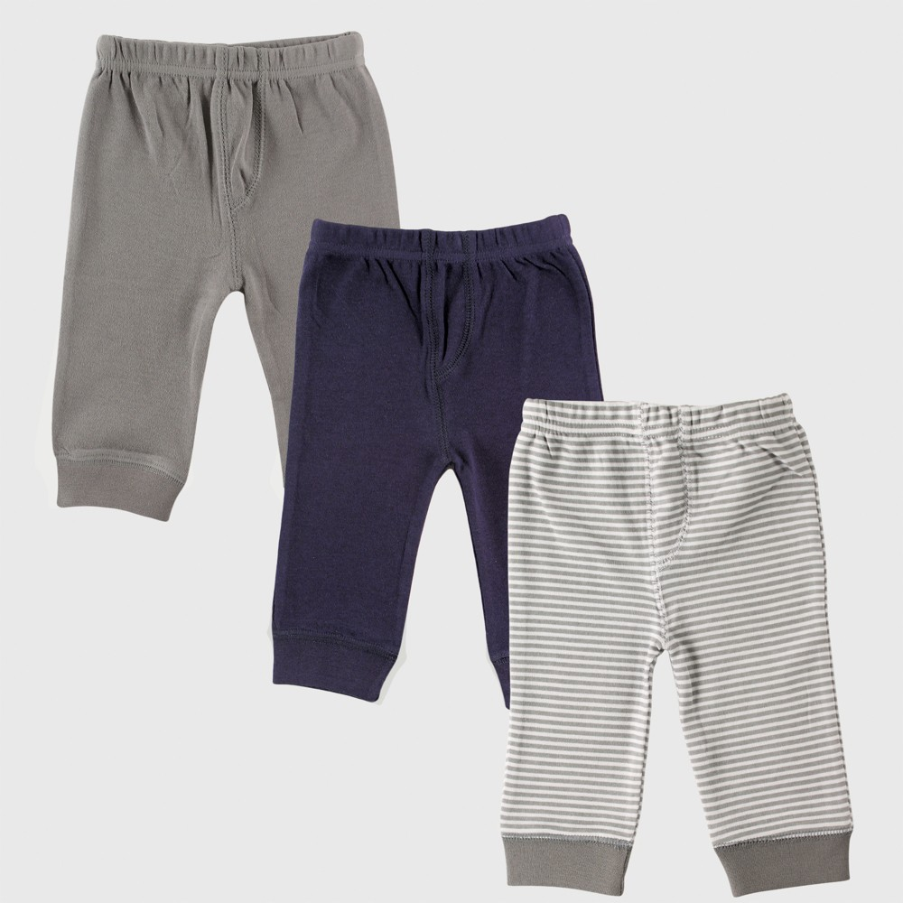 Luvable Friends Baby Boys' 3pk Tapered Ankle Pants - Blue/Gray 3-6M