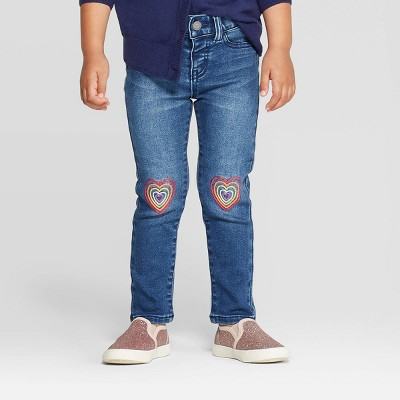 Toddler Girls' Heart Knee Skinny Jeans - Cat & Jack™ Blue 12M