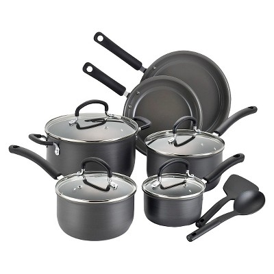 T-fal Precision Ceramic Hard Anodized E789SC PTFE-free PFOA-free Dishwasher Safe Cookware 12 Pc Set Gray