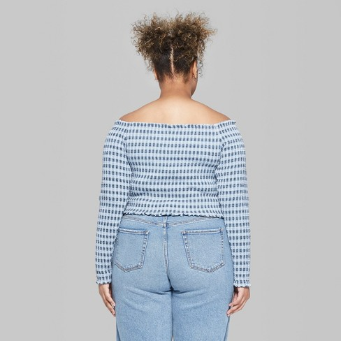 31329187c7b Women s Plus Size Cropped Long Sleeve Gingham Smocked Top - Wild Fable™  Blue 2X   Target