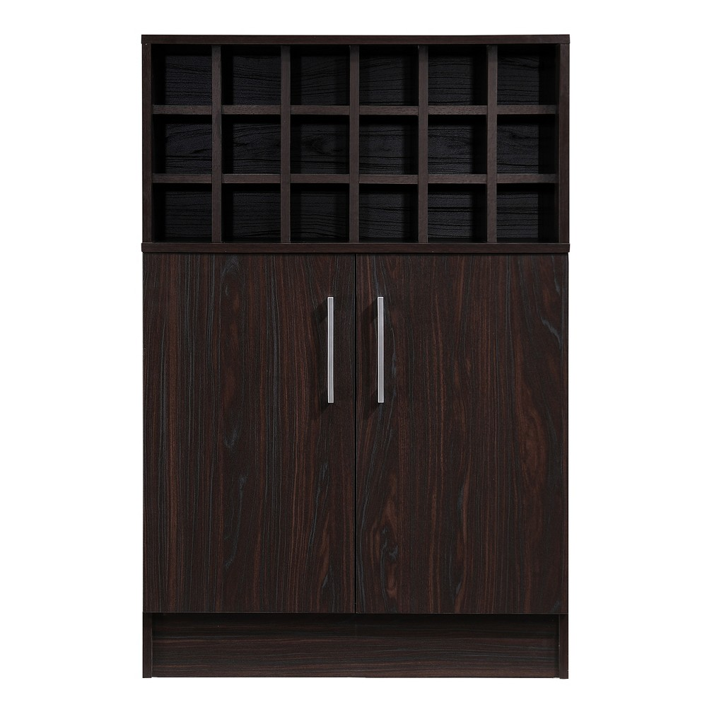 Roula Mid Century Wine and Bar Cabinet Wenge Brown - Christopher Knight Home