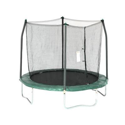 Skywalker Outdoor Kids 8 Foot Round Trampoline with Safety Net Enclosure, Green
