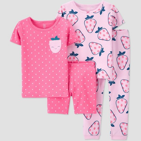Toddler Girls' 4pc Strawberry Snug Fit Pajama Set - Just One You® made by carter's - image 1 of 3