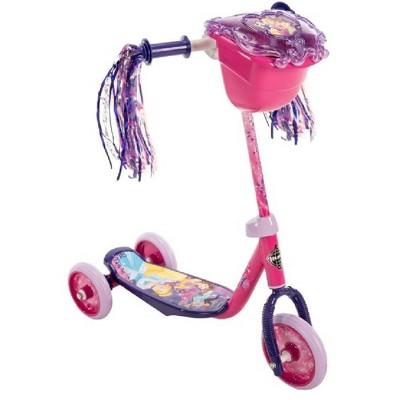 Huffy Disney Princess Kids Toddler Preschool 3 Wheel Kick Scooter with Basket