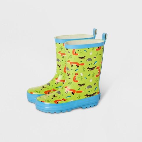 Kids Forest Friends Garden Rain Boots Light Green Kid Made Modern