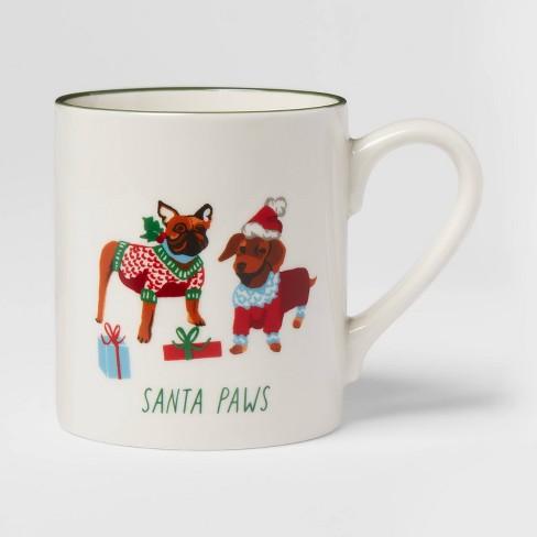 16oz Stoneware Santa Paws Christmas Mug White - Threshold™ - image 1 of 3