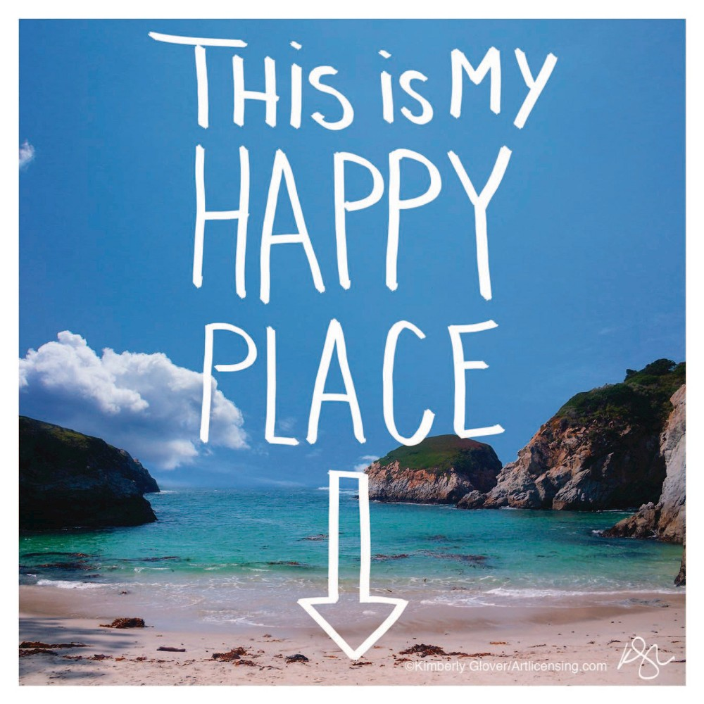 Image of Thirstystone This Is My Happy Place Coaster Set of 4, Blue