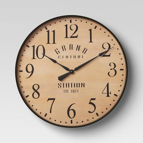 "26"" Grand Central Station Wall Clock Tan/Black - Threshold™ - image 1 of 3"