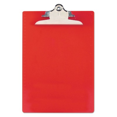 """Saunders Recycled Plastic Clipboards 1"""" Clip Cap 8 1/2 x 12 Sheets Red 21601"""