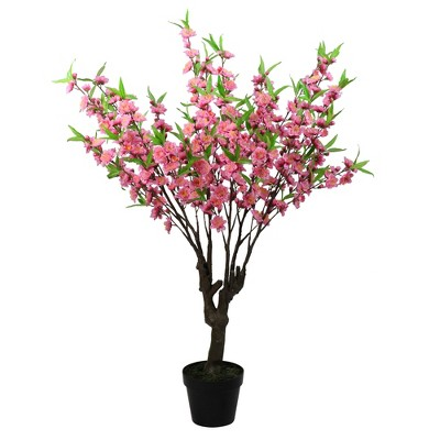 """Northlight 43.5"""" Artificial Potted Peach Floral Blossom Tree"""