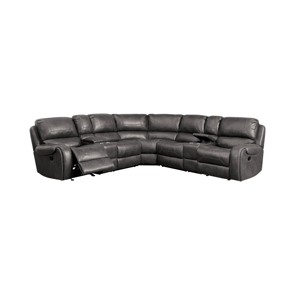 Image of Kaiden Upholstered Power Recliner Sectional Gray - ioHOMES