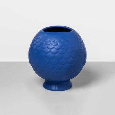 """6.6"""" x 6.1"""" Stoneware Fish Shaped Vase Blue - Opalhouse™"""