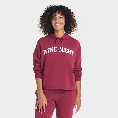 Women's Wine Night Hooded Graphic Sweatshirt - Wine