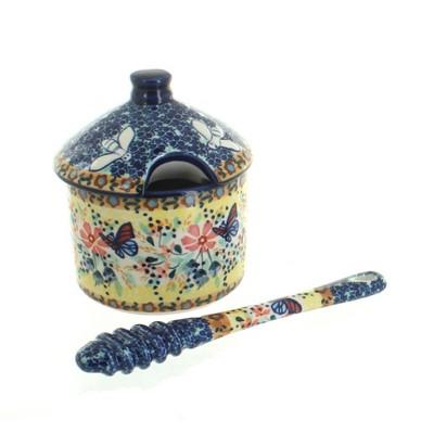 Blue Rose Polish Pottery Blue Butterfly Honey Pot & Dipper