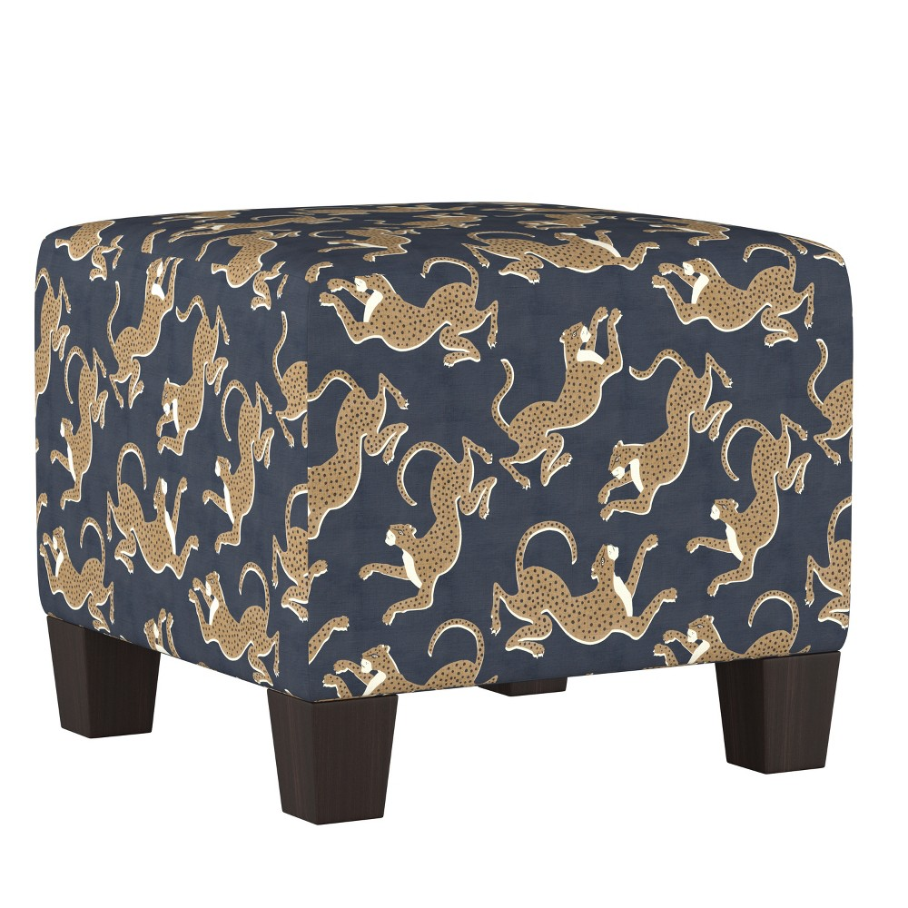 Annie Square Ottoman Navy Leopard Print - Cloth & Co.