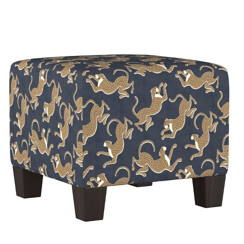 Incredible Annie Square Ottoman Navy Leopard Print Cloth Co Alphanode Cool Chair Designs And Ideas Alphanodeonline