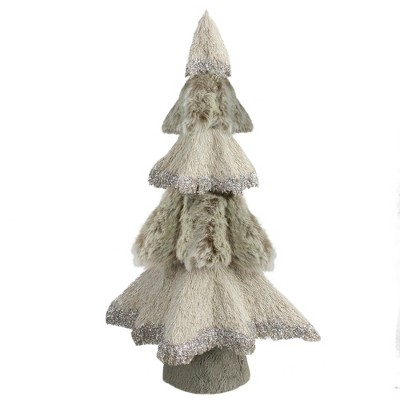 """Northlight 14"""" Gray and Beige Triangular Table Top Christmas Tree with Glitter"""