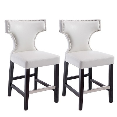 Set of 2 Kings Counter Height Barstool With Studded Bonded Leather Seat - Corliving