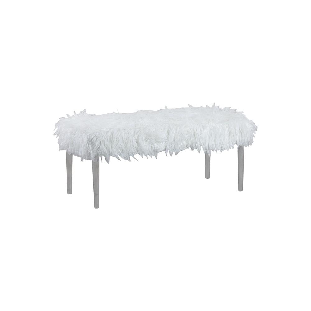 Faux Flokati Acrylic Leg Bench White - Linon Home Decor