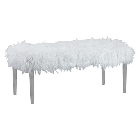 Terrific Faux Flokati Acrylic Leg Bench White Linon Home Decor Squirreltailoven Fun Painted Chair Ideas Images Squirreltailovenorg