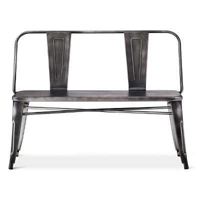 Beau Distressed Metal Dining Bench   Black