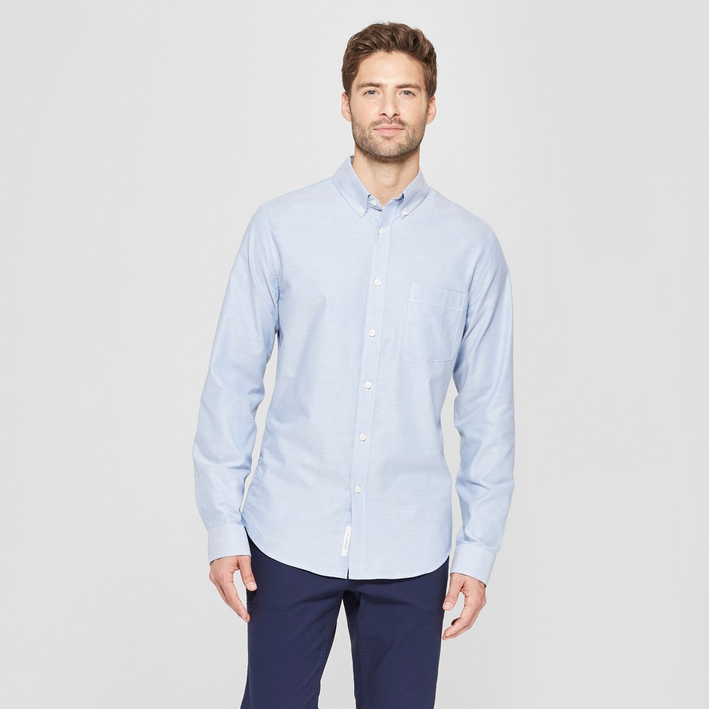 Men's Slim Fit Brushed Whittier Oxford Long Sleeve Collared Button-Down Shirt - Goodfellow & Co Lake Reflection L
