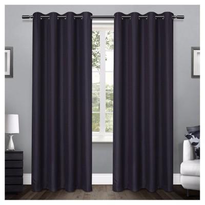 Loha Linen Window Curtain Panel Pair Peacoat Blue (54 x84 )- Exclusive Home™