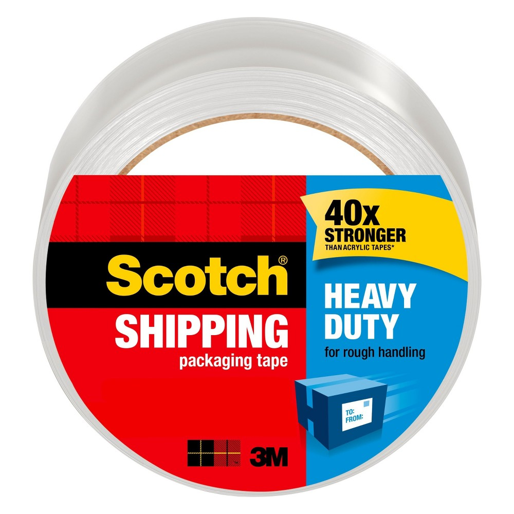 Scotch Heavy Duty Shipping Packaging Tape, 1.88 in x 65.6 yd, Clear