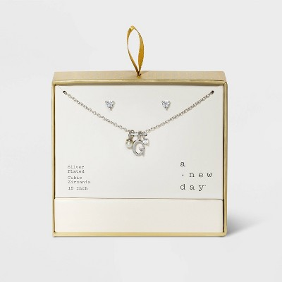 Silver Plated with Cubic Zirconia and Pearl Initial Charm Cluster Necklace and Earring Set - A New Day™