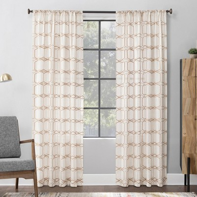 "84""x52"" Certo Geometric Embroidery Linen Blend Sheer Rod Pocket Curtain Panel Brown - Scott Living"