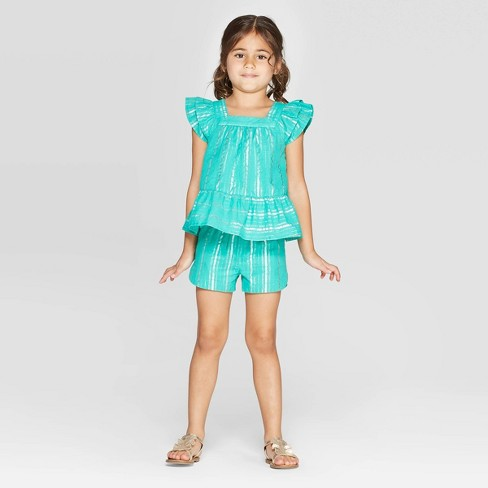 Toddler Girls' Striped Woven Top and Bottom Set - Cat & Jack™ Teal - image 1 of 3