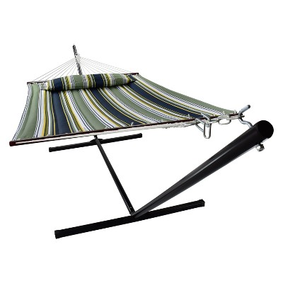 Hammock with Spreader Bars and Detachable Pillow Green/Navy - Sorbus