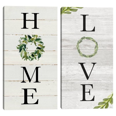 Set of 2 Home & Love Panels Unframed Canvas Art Prints - Masterpiece Art Gallery