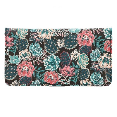 Checkbook Cover Check Book Case Printed Cactus Succulent Wallet for Women 6.9 x 3.75 inches