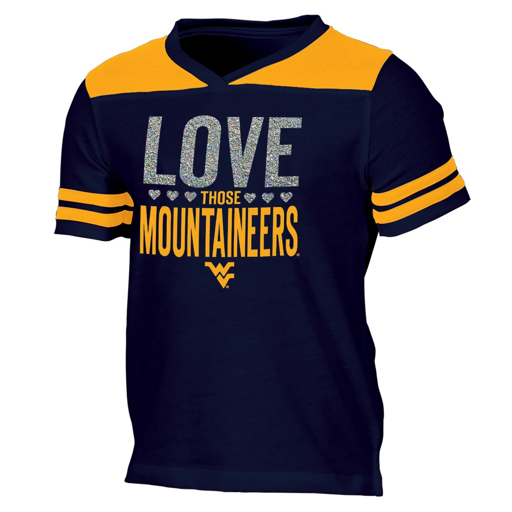 West Virginia Mountaineers Girls' Short Sleeve Team Love V-Neck T-Shirt XL, Multicolored