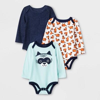 Baby Boys' 3pk Critter Long Sleeve Graphic Bodysuits - Cat & Jack™ Blue/White/Green 3-6M