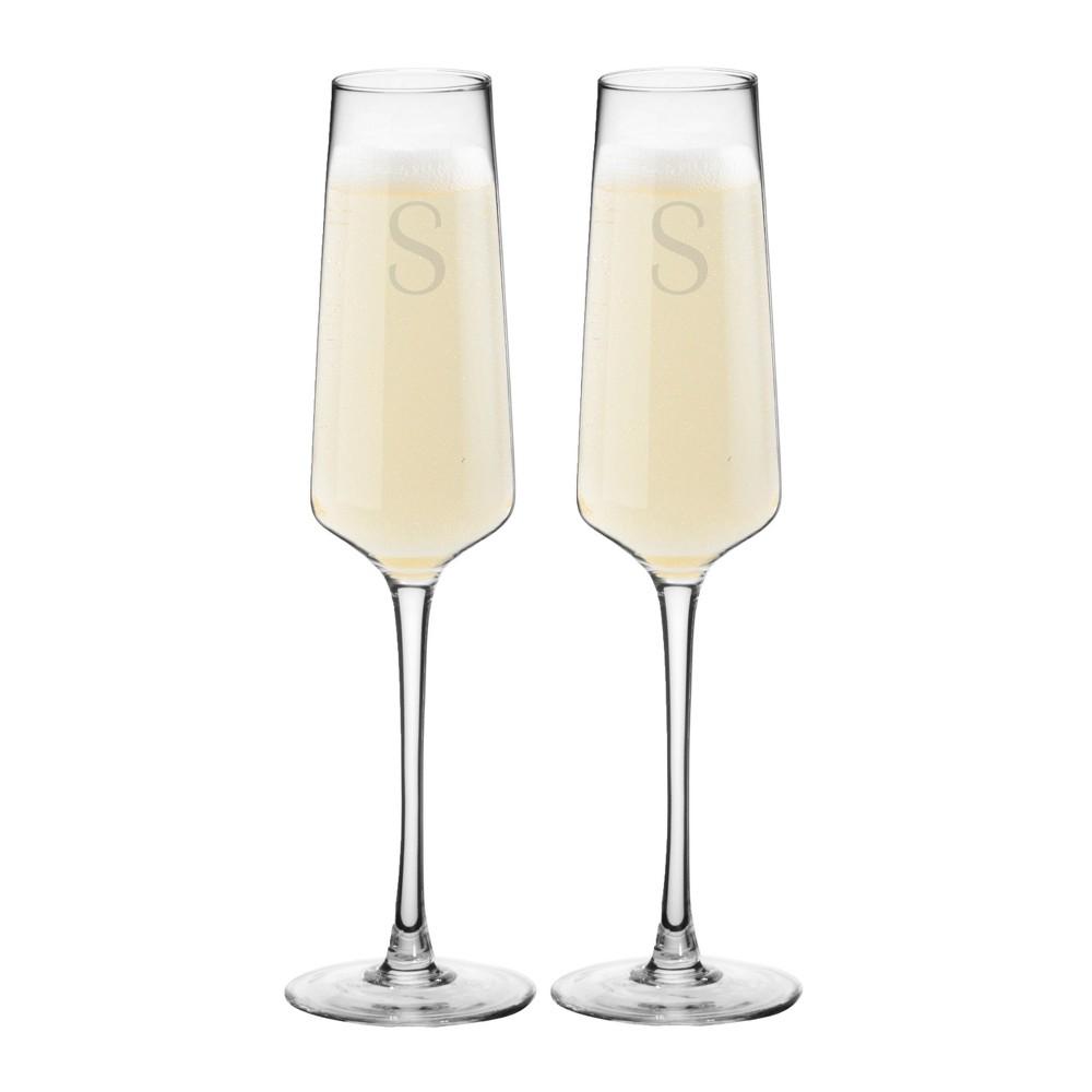 9 5oz 2pk Monogram Estate Champagne Glasses S Cathy S Concepts