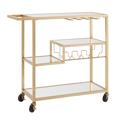 Estelle Step Tier Metal and Glass Bar Cart Champagne Gold - Inspire Q