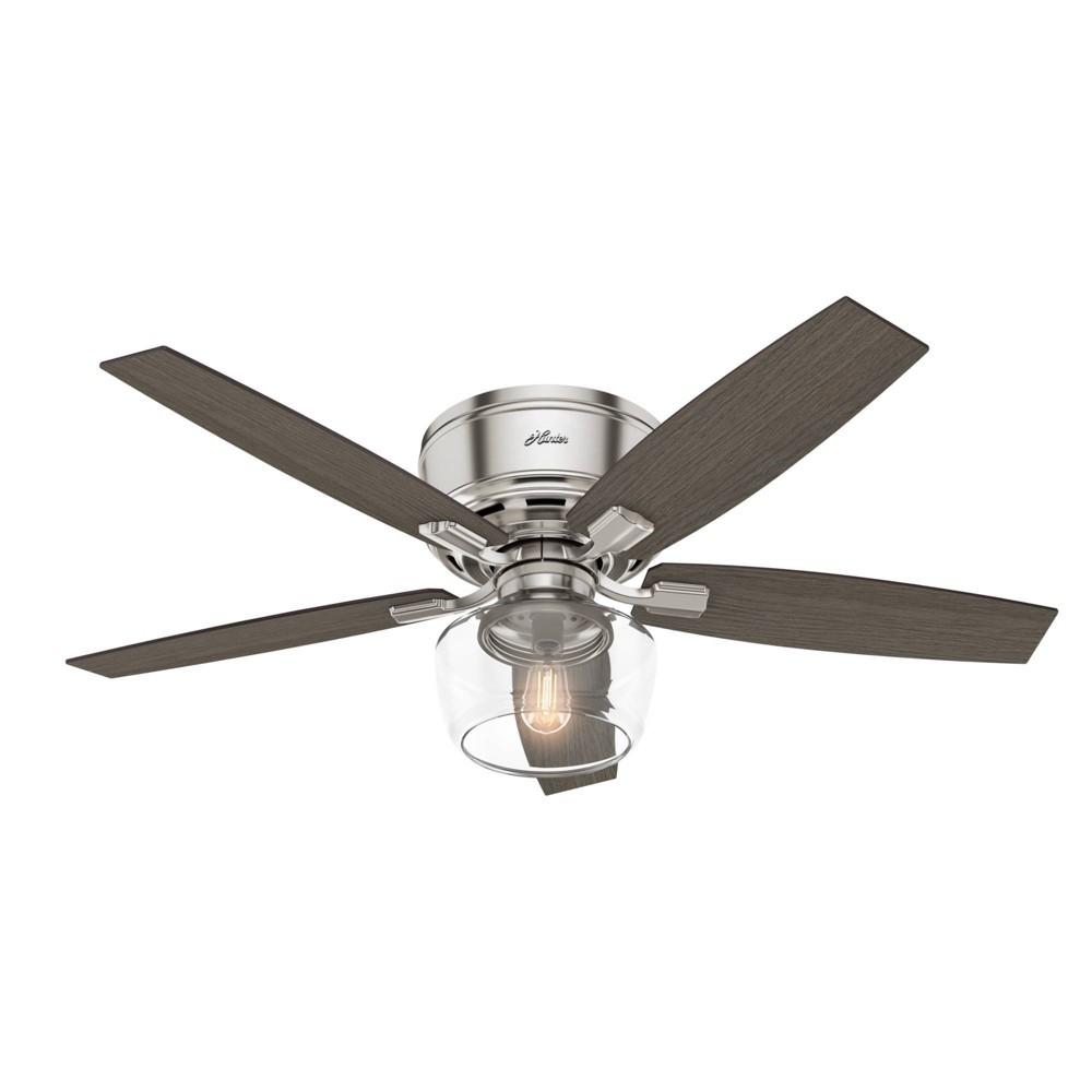 """Image of """"52"""""""" LED Bennett Low Profile Globe Ceiling Fan with Light Brushed Nickel - Hunter Fan"""""""