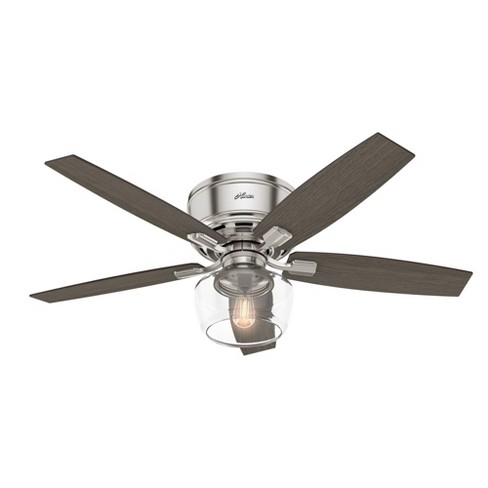 52 Led Bennett Low Profile Ceiling Fan With Remote Includes Light Bulb Nickel Hunter Target