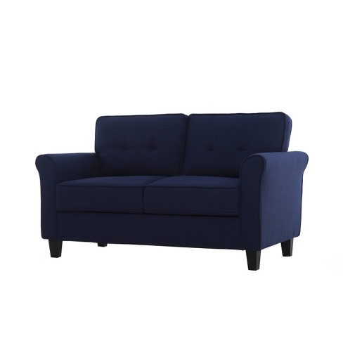 Admirable Hayward Microfiber Loveseat Navy Blue Lifestyle Solutions Gmtry Best Dining Table And Chair Ideas Images Gmtryco