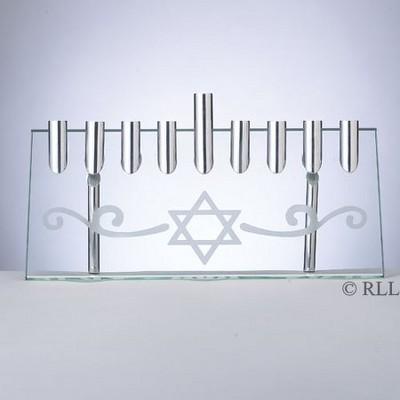 "Rite Lite 9.5"" Hanukkah Etched Star of David Illusion Candle Menorah - Silver"