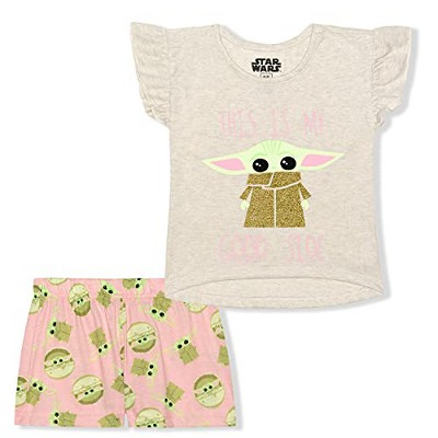 Star Wars The Mandalorian Girl's 2-Pack My Good Side Baby Yoda Ruffle Sleeve Tee Shirt and Short Set for Infants