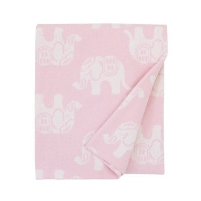 NoJo Serendipity Elephant Print 100% Cotton Baby Blanket - Pink