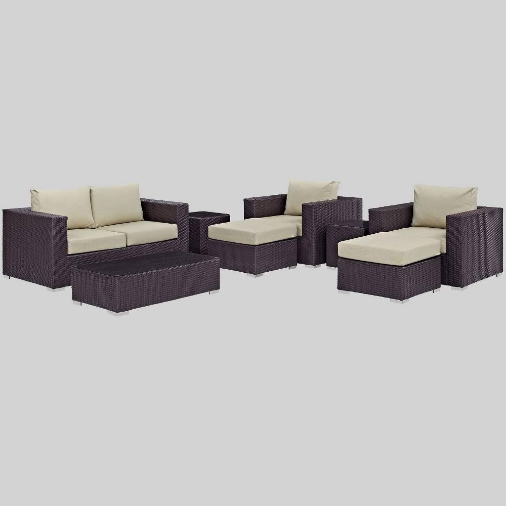 Convene 8pc Outdoor Patio Sofa Set - Beige - Modway